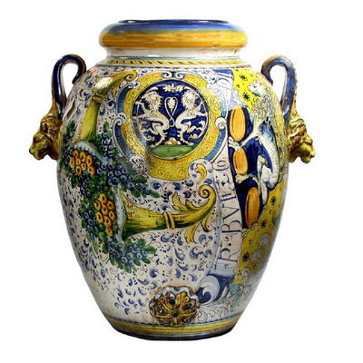 Large urn with lion heads handles cm 50 H cm 80