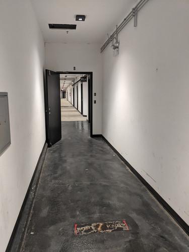 Go straight down the hallway...