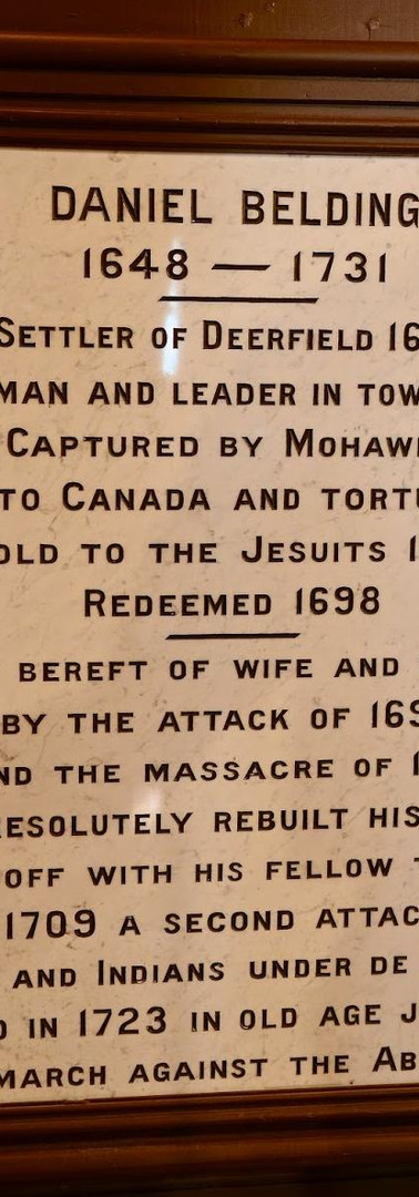 Plaque on display at the Memorial Hall Museum in Deerfield