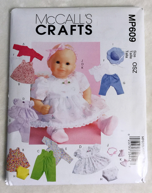 McCall\'s Crafts MP609 Sewing Pattern Baby Doll Clothes