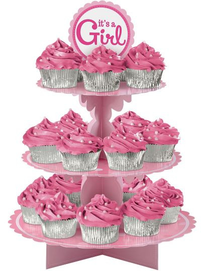 Its A Girl Baby Shower Cupcake Treat Stand