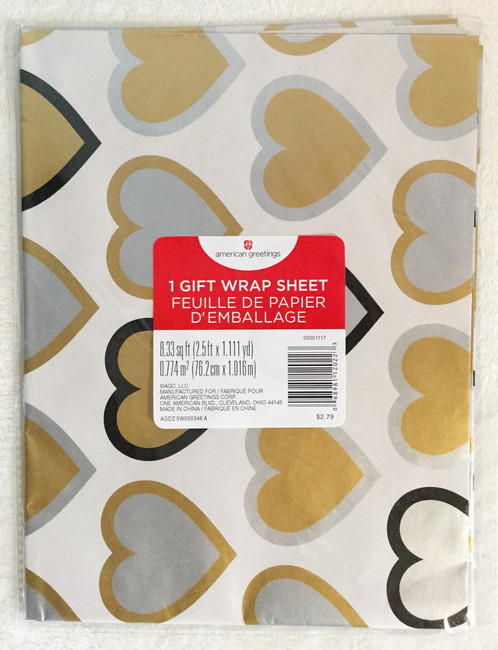 American greetings silver and gold hearts gift wrap paper m4hsunfo