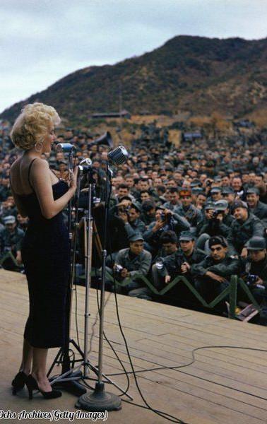 Marilyn Monroe performing for troops in Korea