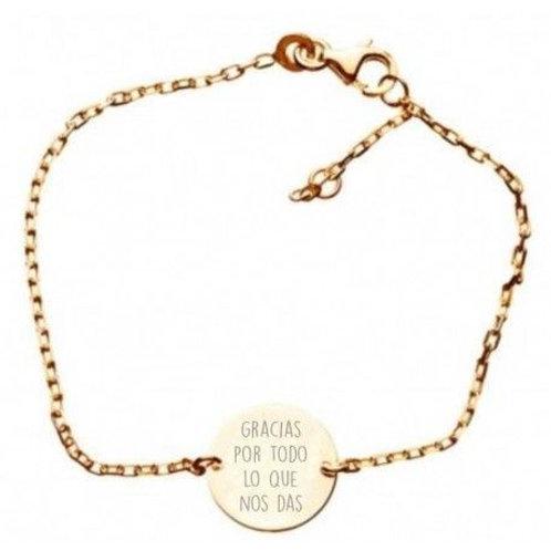 Pulsera personalizada esmeralda cadena oro