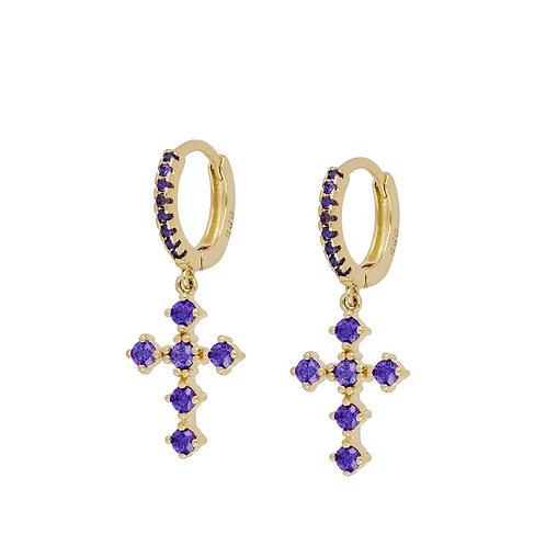 Pendiente Crupy Purple Oro