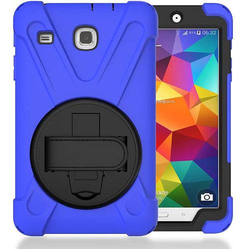 "Samsung Galaxy Tab E 8.0"" Rome Tech OEM Rugged Case Kickstand Hand Strap - Blue"