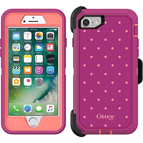 OtterBox Defender Case for Apple iPhone 8 / 7 - Coral Dot