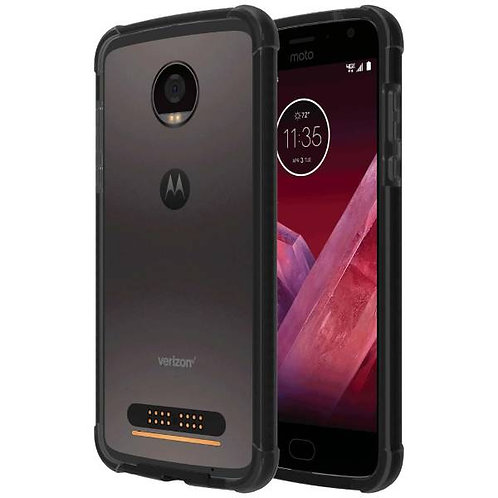Motorola Moto Z2 Play Rome Tech OEM Two-Tone Bumper Case Cover - Black / Gray