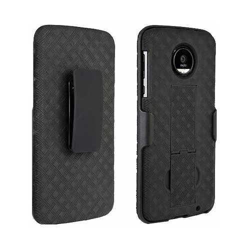 Motorola Moto Z Force Droid Rome Tech OEM Shell Holster Combo Case - Black