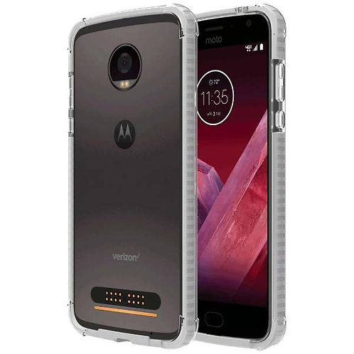 Motorola Moto Z2 Play Rome Tech OEM Two-Tone Bumper Case Cover - Clear / White