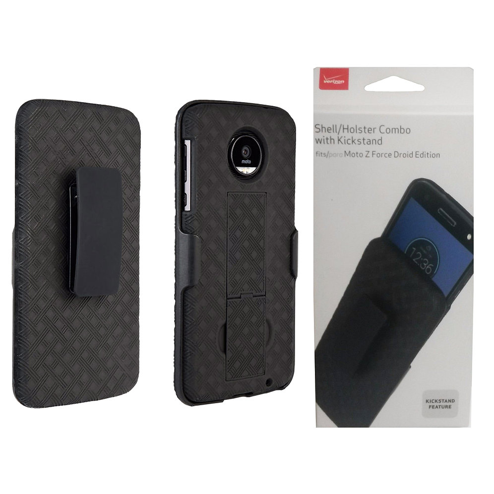 size 40 4e462 793ca Moto Z Force Droid Verizon OEM Shell Holster Combo Case Cover - Black |  NoteFECase Wholesale