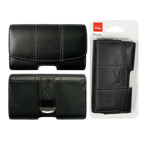 Verizon OEM Leather Side Pouch Style 2 w/ Grey Stitching / Metal Clip - Black
