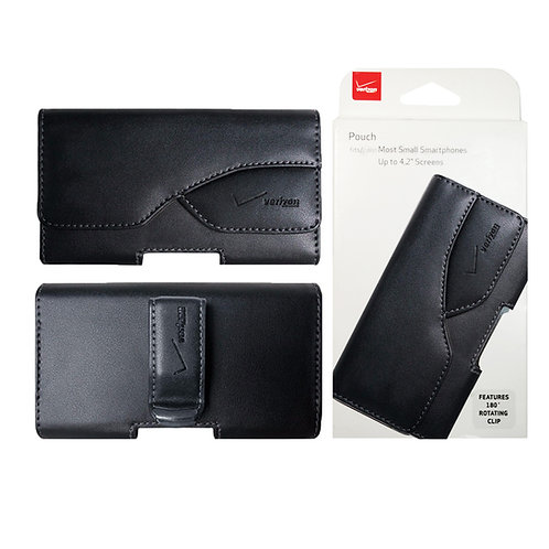 Verizon OEM Universal Side Pouch Leather for Large Devices - Black