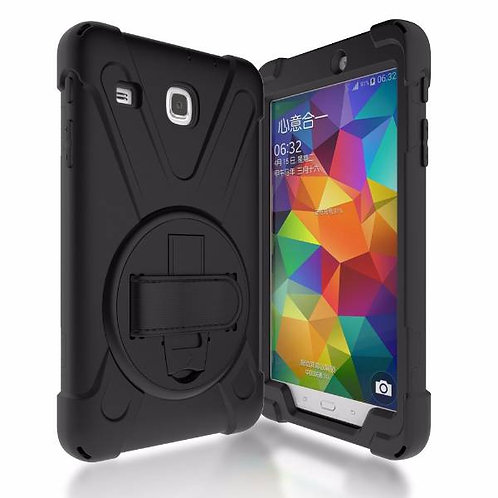 "Samsung Galaxy Tab E 8.0"" Rome Tech OEM Rugged Case Kickstand Hand Strap - Black"