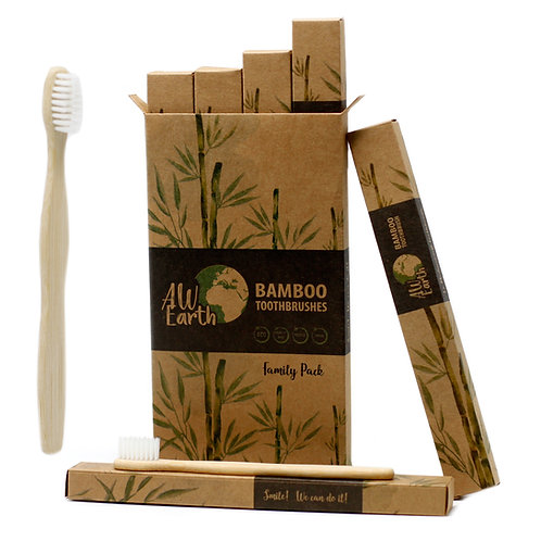 Bamboo Toothbrush - Family Pack of 4