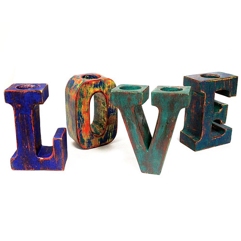 LOVE - Wood Candle Holder