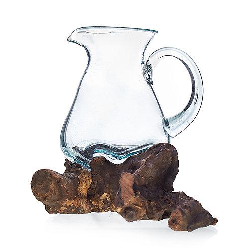 Molten Glass on Wood Jug