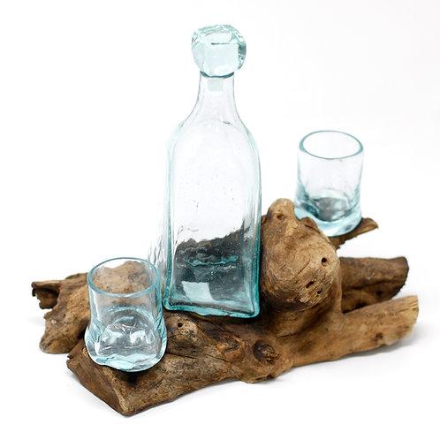 Molten Glass on Wood Whisky Set