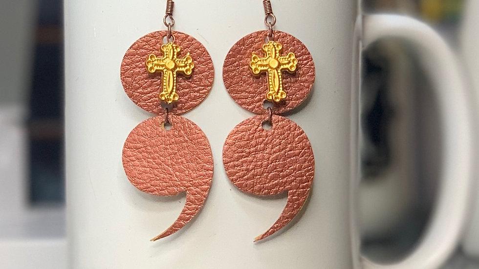 Semicolon Cross Earrings