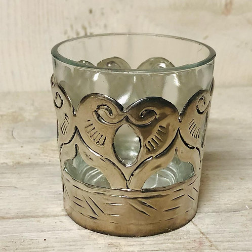 Antiqued Glass and Brass Tealight Holder
