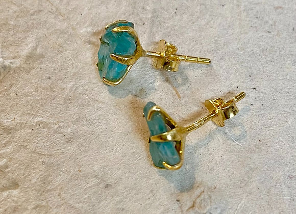 Apatite rough cut 18k gilded silver earrings