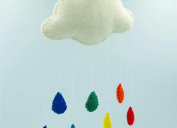Felt Cloud & Raindrops Mobile