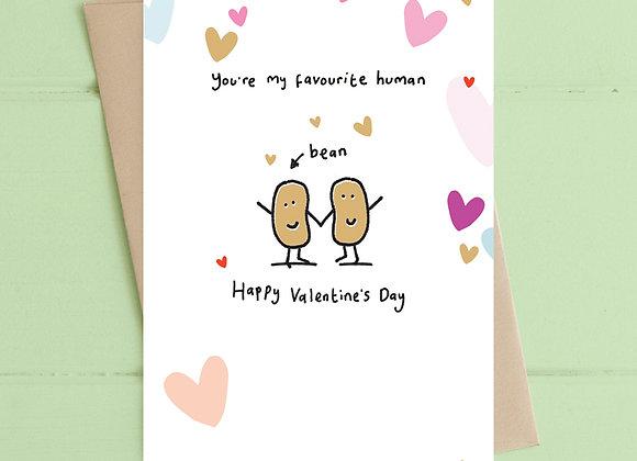 Valentines Human Bean Card