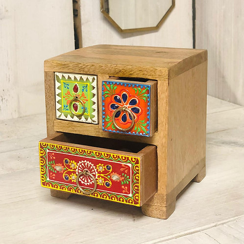 Hand Painted Indian 3 Drawer Chest