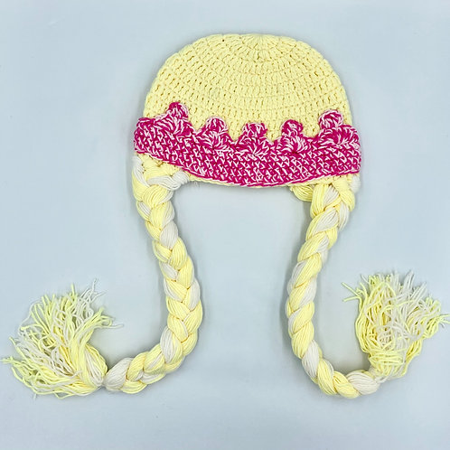 Princess Crochet Beanie with Plaits