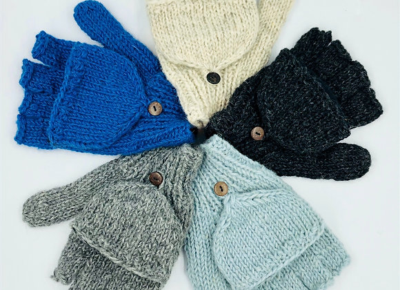 100% Pure Wool Fingerless Gloves (available in 5 colours)