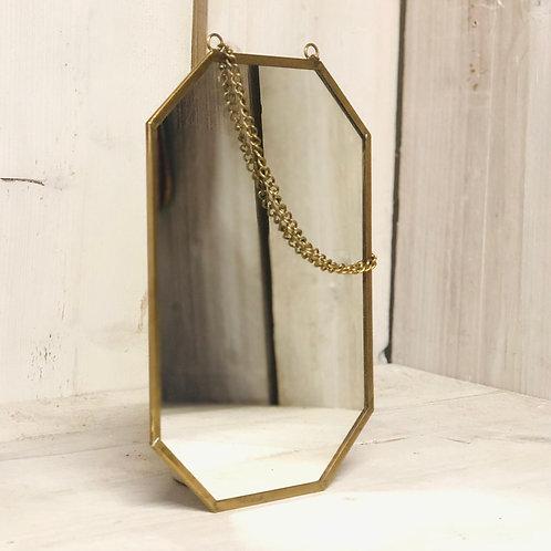 Geometric Brass Finish Hanging Mirror