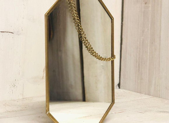 Geometric Brass Finish Hanging Mirror