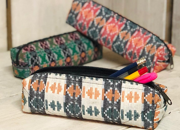 Dhaka fabric pencil case (5 colours)