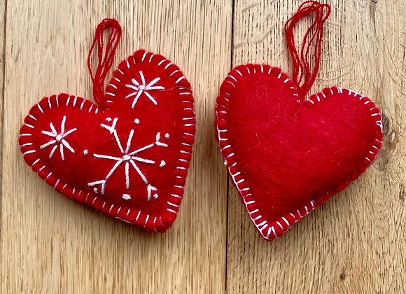 Handmade Red Felt Heart Decoration