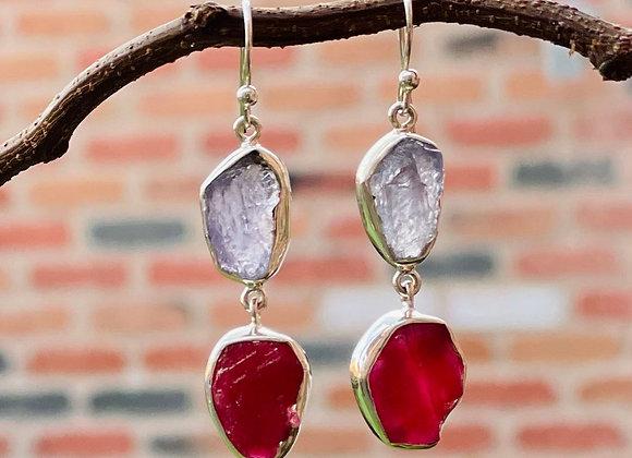 'Two's Company' silver earrings