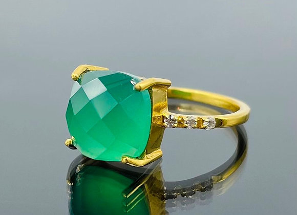 'Square Rooted' green onyx ring