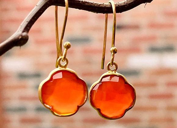 'Four Leaf Clover' 18k gilded silver earrings