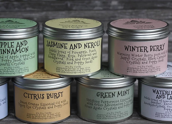 Hand poured natural vegan candle in a tin