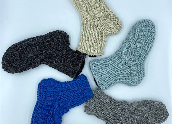 100% Pure Wool Lined Cable Knit Socks