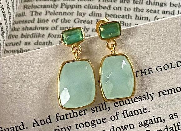 'Semi Colon' 18k gilded silver earrings