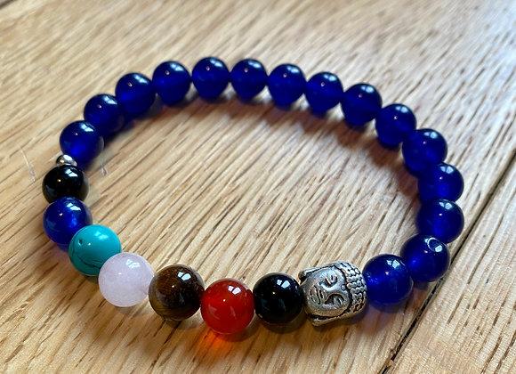 Chakra Bead Bracelet & Buddha Charm (Blue)