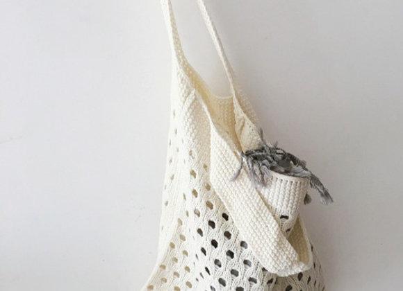 Lightweight Knit Shopper Bag (cream)