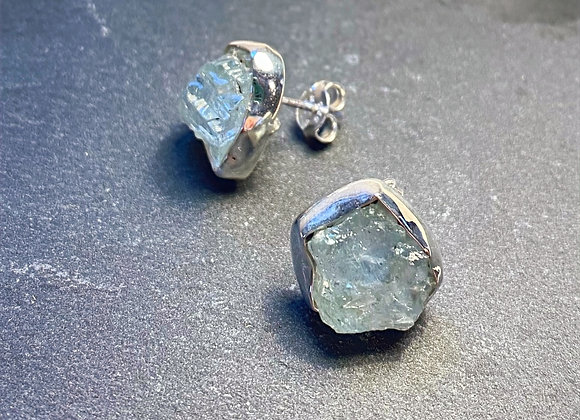 'Sea Scape' Aquamarine silver stud earrings