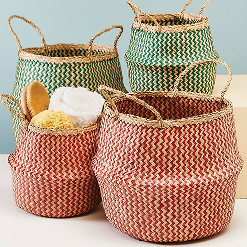 Red Zig Zag Weave Seagrass Basket