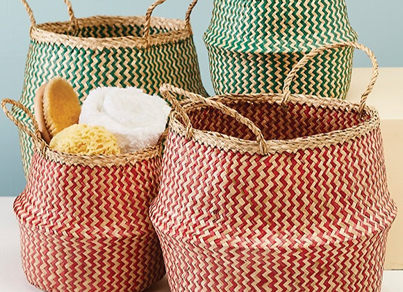 Red Zig Zag Weave Seagrass Basket