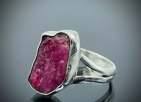 Ruby rough cut sterling silver ring