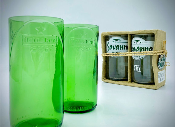 Pack of 2 glass tumblers, recycled beer bottles