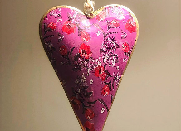 Large Floral Design Metal Hanging Heart