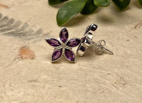 Amethyst flower silver stud earrings