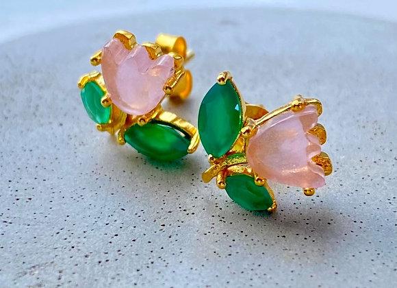 'Pinks' 18k gilded silver earrings